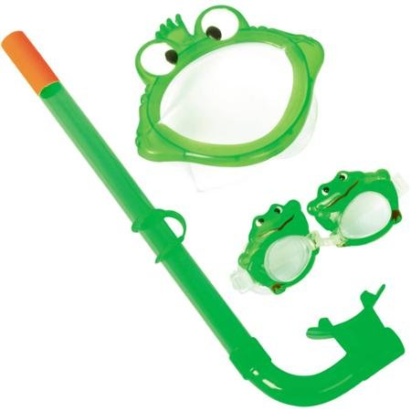 (Bestway #10106 Character Swimming and Snorkeling Set, Silly Frog Design, Green, Polycarbonate Lense, For Kids Ages 3 to 4 Years)