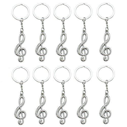 HUELE 10 Pcs Musical Note Key Chain Metal Music Symbol G-Clef Key Ring Keychain Trinket -