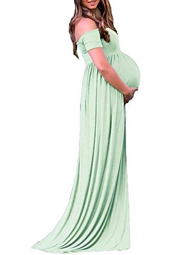 63e00d90a3bd8 Saslax Maternity Off Shoulder Maxi Gown Bridesmaid Dress for Photos Shoot  Baby Shower Green L