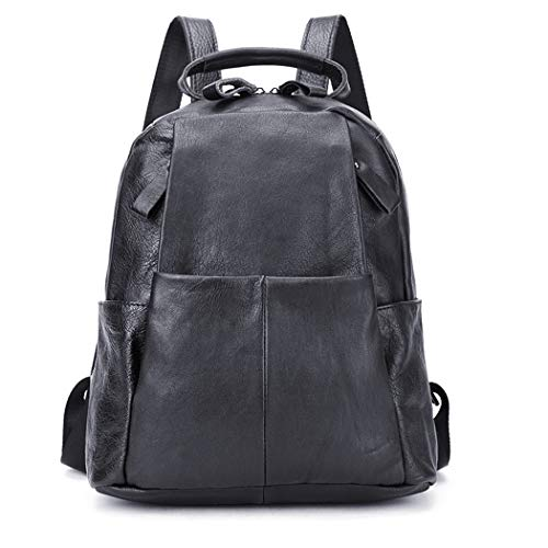 Lady American Bags Simplicity European Capacity Women's Handbags Large and Travel Black Multifunctional Genuine Rucksack Fashion Backpack Black Leisure Leather 505Yqxt