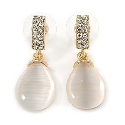 Nice Gold Tone Clear Crystal Nude Cat Eye Stone Teardrop Earrings - 35mm L