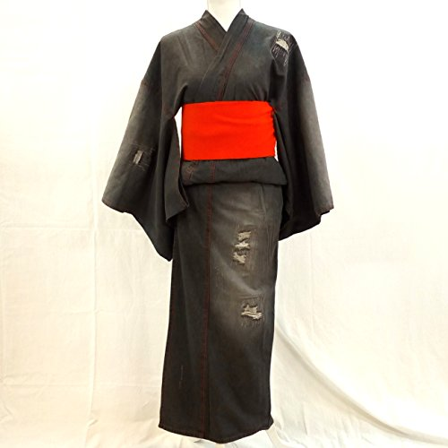 シーサイド被るくつろぎデニム着物 ブラック クラッシュ レディース フリーサイズ