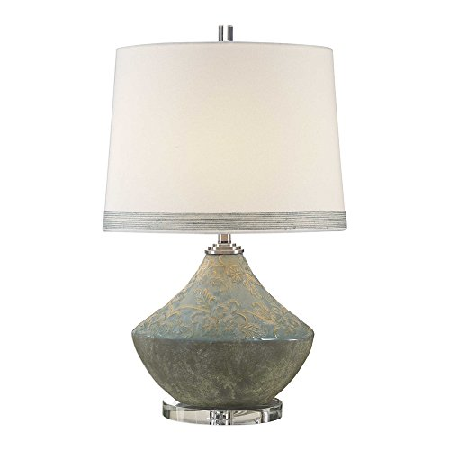 Uttermost Padova Aged Light Blue Glaze Ceramic Table Lamp