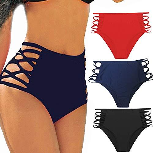 CROSS1946 Sexy Women's Bikini Retro High Waisted Strappy Brief Bottom Solid Tankini Swimsuit S ()