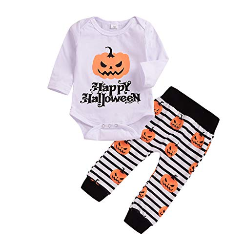 WOSENHK Newborn Baby Girls Boys Happy Halloween Outfit Long Sleeve Romper Striped Pumpkin Printed Pants Clothes Set (White, 90/9-12months)]()