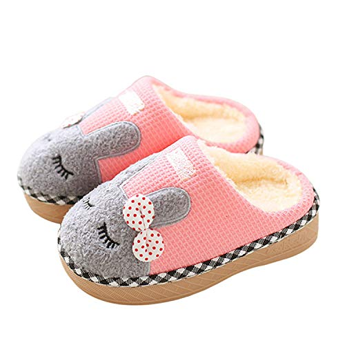 JACKSHIBO Girl Cute Home Slippers Kid Fur Lined Winter House Slippers Warm Indoor Slippers for Boys, Pink -