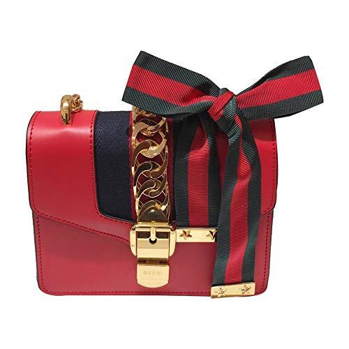 Womens Sylvie Leather Mini Bag GG Logo Leather Purse Shoulder Bag (Red1)