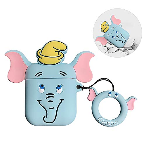 Compatible for AirPods 1 2 Case Protective Silicone Cover Skin, 3D Cute Creative Cartoon Elephant Dumbo Shape Cover…