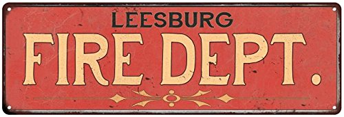 LEESBURG FIRE DEPT. Vintage Look Metal Sign Chic Decor Retro - Corner Leesburg