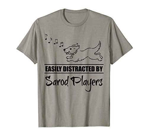 Running Dog Easily Distracted by Sarod Players Fun Whimsical T-Shirt