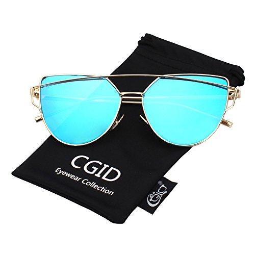 CGID Women's Modern Fashion Mirror Polarized Cat Eye Sunglasses Goggles UV400,Gold - Cat Eye Modern Sunglasses