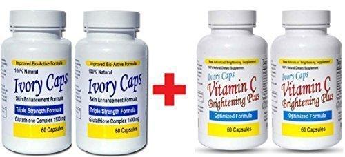Ivory Caps Skin Whitening Lightening 1500mg Glutathione Support Pill + Vitamin C Brightening Plus (Pack of 2)