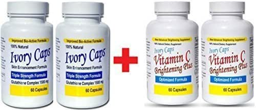 Ivory Caps Skin Whitening Lightening 1500mg Glutathione Support Pill + Vitamin C Brightening Plus (Pack of 2)
