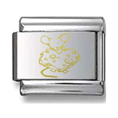 Mouse with Heart Cheese Gold Laser Italian Charm