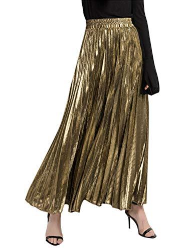 ORANDESIGNE Taille Haute Jupe Femmes Fluide Longue Jupes de Plage t Plisse Vintage Maxi Skirts Mode Casual Couleur Pur Or