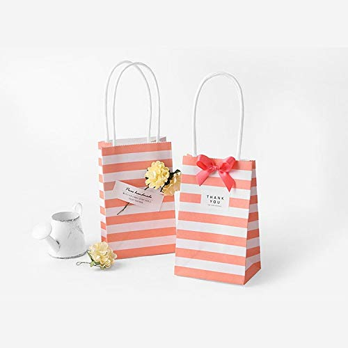 Lannmart Set Small Gift Bag with Handles Bow Ribbon Stripe Paper Handbag Cookies Candy Festival Wedding Party Gift Packaging Bags