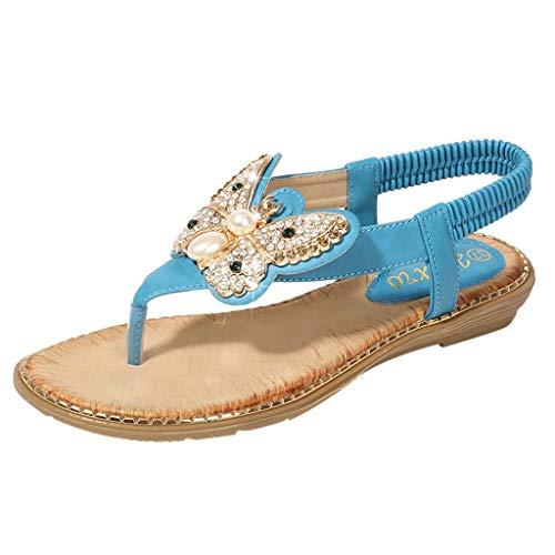 (Rhinestone Sandals Respctful✿ Women's Fashion Bohemia Flip Flops Summer Beach T-Strap Gladiator Espadrille Sandals Blue)