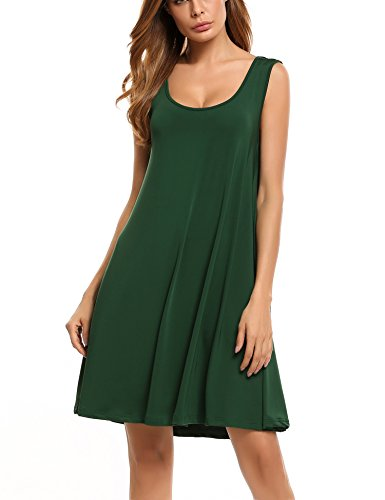 HOTOUCH - Vestido - Túnica - Sin mangas - para mujer Ejercito Verde