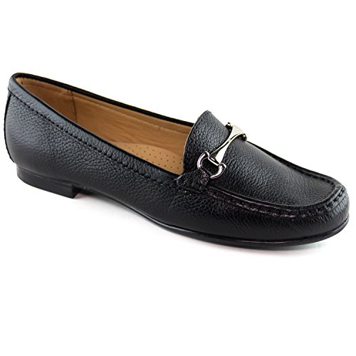 4734d16c Driver Club USA Women's Fashion Shoes Grand 2 Black Grainy Buckle Loafer 7  (More Size