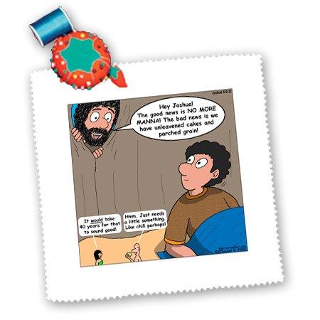 qs_19523_2 Rich Diesslin The Cartoon Old Testament - Joshua 5 9 12 Manna Crop Out Bible manna parched grain unleavened cakes Adam Eve chili - Quilt Squares - 6x6 inch quilt square