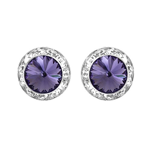 Rosemarie Collections Women's Hypoallergenic Post Back Halo Earrings Made with Swarovski Crystals (Silver Tone/Tanzanite)