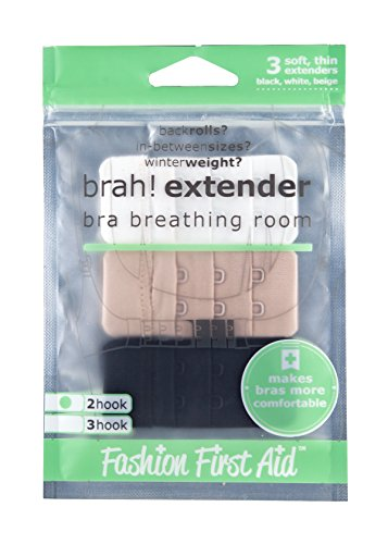 Brah! Extenders: 2 Hook Bra Back Extender 3 pack (White, Beige, Black) 2Hook for bra bands extension