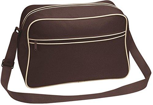Bagbase Unisex estilo Retro para hombre bolsa para raquetas de tenis bolso de hombro/mochila de camiseta de mujer con bolsillo con cremallera Chocolate/Sand