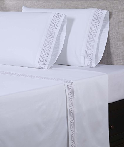 picture of Embroidered Sheet Set with a Gorgeous Greek Key Pattern- Affluence Home Fashions