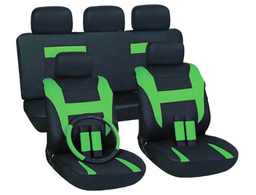 OxGord 17pc Black & Green Flat Cloth Seat Cover Set for the Mitsubishi Eclipse Convertible, Airbag Compatible, Split Bench, Steering Wheel Cover Included (Green Mitsubishi Seat Covers compare prices)