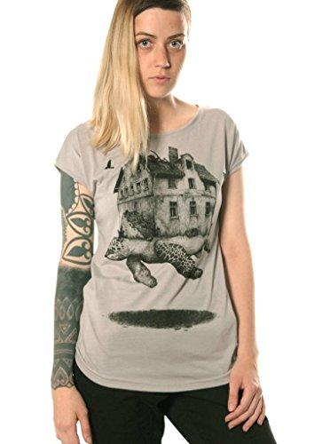 Silk Cotton Crewneck T-shirt - Travelling Home Crew Neck T-Shirt for Women - Graphic Print Turtle Top - Original Illustration Street Wear in Grey - XL