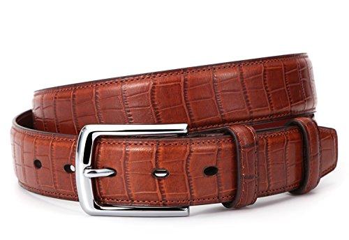 Mens Crocodile Embossed Italian Leather Dress Belt Cognac ()