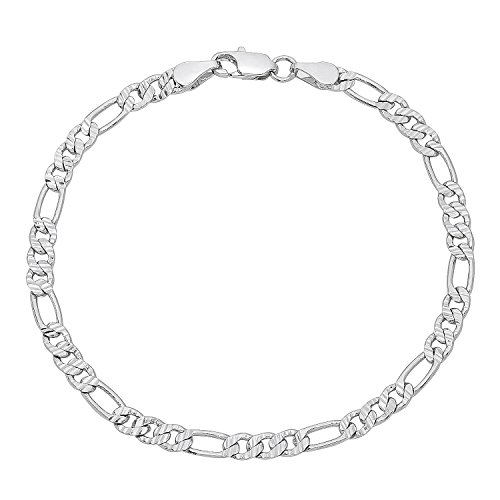 The Bling Factory 4mm Rhodium Plated Figaro Chain Bracelet, 8