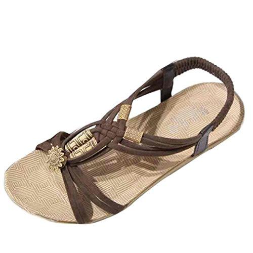 Femmes Sandales Strass Chaussures de Pantoufles 40 Pantoufles Chaussures et Femmes Plates Plates Bohème LuckyGirls® Brun Unie d'été en Sandales Chaussures Couleur Occasionnelles rqZYStqw