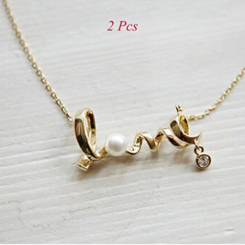"Garrelett 2 Pcs Lover Word ""LOVE"" Sliver Golden Pearl Bead Pendant Thin Choker Necklace for Women Girls"