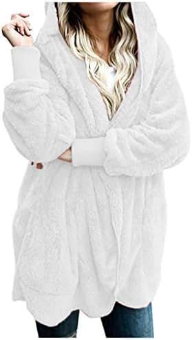 Sweatshirt for Women with Zipper Hood and Pockets Winter Warm Coat Jacket Parka Outwear Ladies Cardigan Coat
