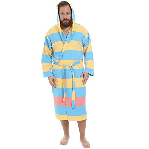 ec7b6526c1 Cacala Hooded Turkish Bathrobe – Comfortable 100% Cotton Turkish Bath Towel  Fabric – Bright
