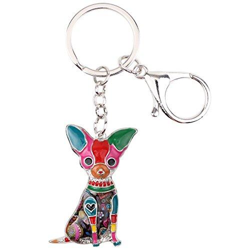 Bonsny Enamel Alloy Chain Chihuahua Key Chains For Women Jewelry Car Purse Handbag Charms (Multicoloured) (Chihuahua Keychain)