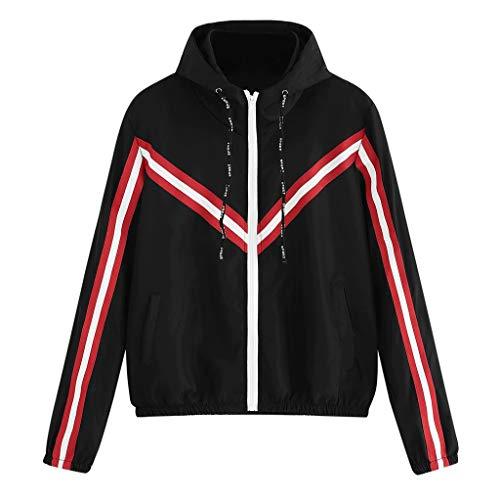 Women Long Sleeve Patchwork Hooded Zipper Pockets Casual Sport Coat ()