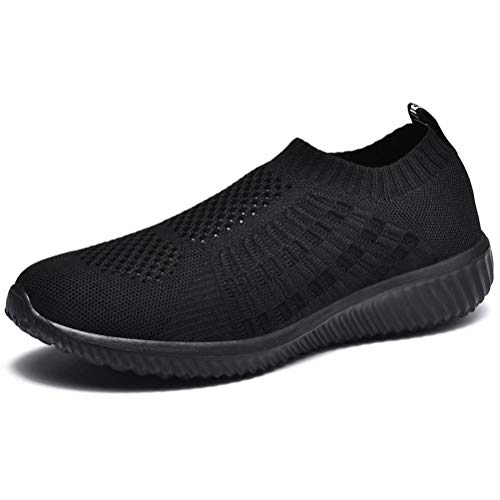 LANCROP Women's Comfortable Walking Shoes - Lightweight Mesh Slip On Athletic Sneakers 7.5 US, Label 38 All Black
