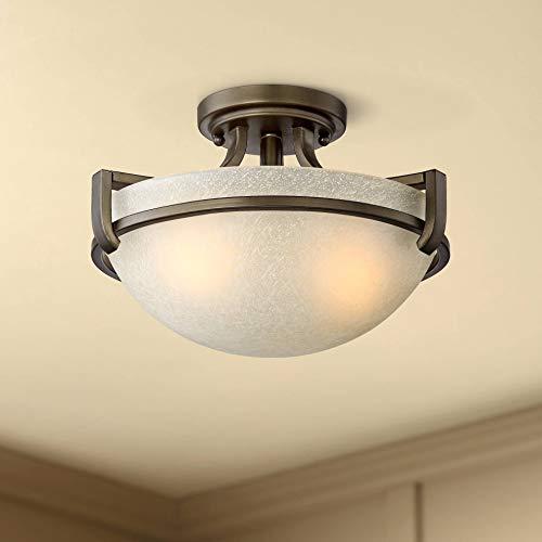 "Mallot Ceiling Light Semi Flush Mount Fixture Oil Rubbed Bronze 13"" Wide Crackle Champagne Glass Bowl for Bedroom Kitchen Living Room Hallway Bathroom - Regency Hill"