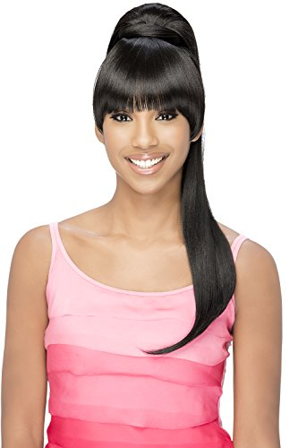 Vivica A Fox Hair Collection BP-Loui Bang N Pony Yaki Texture New Futura Fiber, Color 1b, 6.8 -