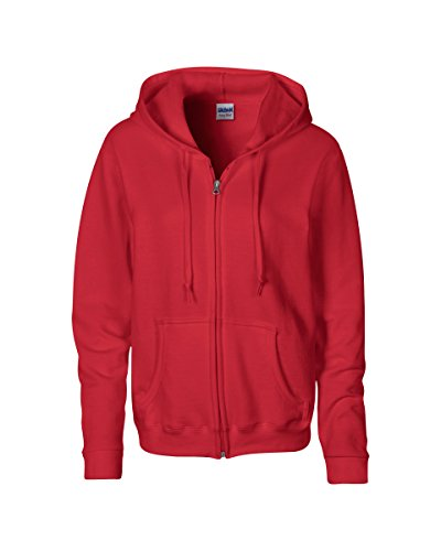 Gildan Womens Heavy Blend 8 oz. 50/50 Full-Zip Hood(G186FL)-RED-M (Sweatshirt Zipper Red)