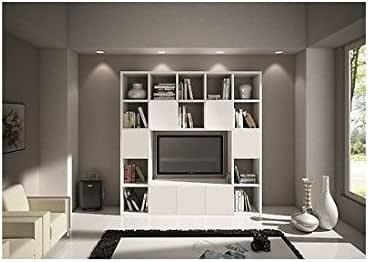 EsteaMobili - Estantería de pared modular y moderna de salón para TV, de madera blanca veteada: Amazon.es: Hogar