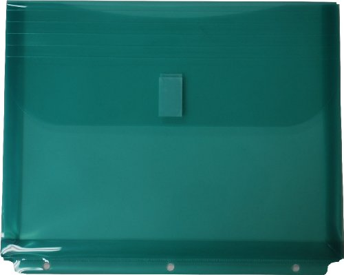 Filexec Poly Envelope, Letter, Side-load, Velcro Closure, 3-Hole Punched, Green (Pack of 12) (50088-17225) ()