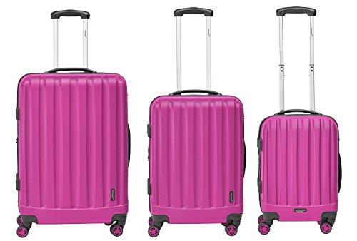 Packenger Premium Reisekoffer Velvet 3er-Set M, L und XL mit TSA-Schloss 103-003P-15 Magenta