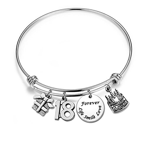 - Zuo Bao Birthday Gift, Happy Birthday Charm Bracelet, Adjustable Bangle, 13th 16th 30th Birthday Jewelry (18th Bracelet)