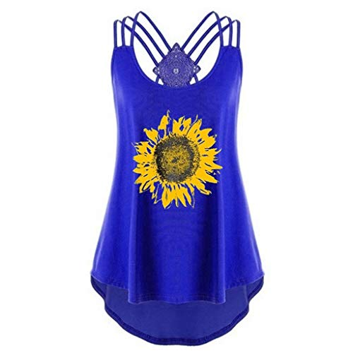 Women's Sunflower Print T-Shirt,Toponly Women Comfortable Bandages Sleeveless Vest Tee Low Tank Top Notes Strappy Tops Sports Racerback