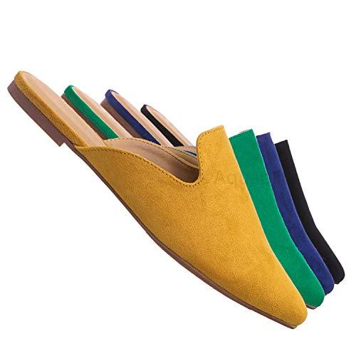 Aquapillar Pointed Toe Flat Mule - Women Dressy Slip On Backless Loafer Slipper Mustard Yellow -