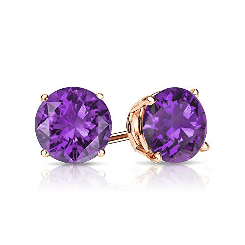9mm Amethyst Stud Earrings in 14k Rose Gold (4 ()