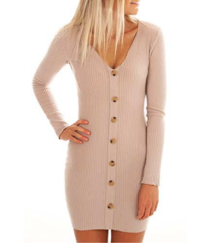 bbed Knit Horn Button Tight Sweater Short Mini Dresses ()
